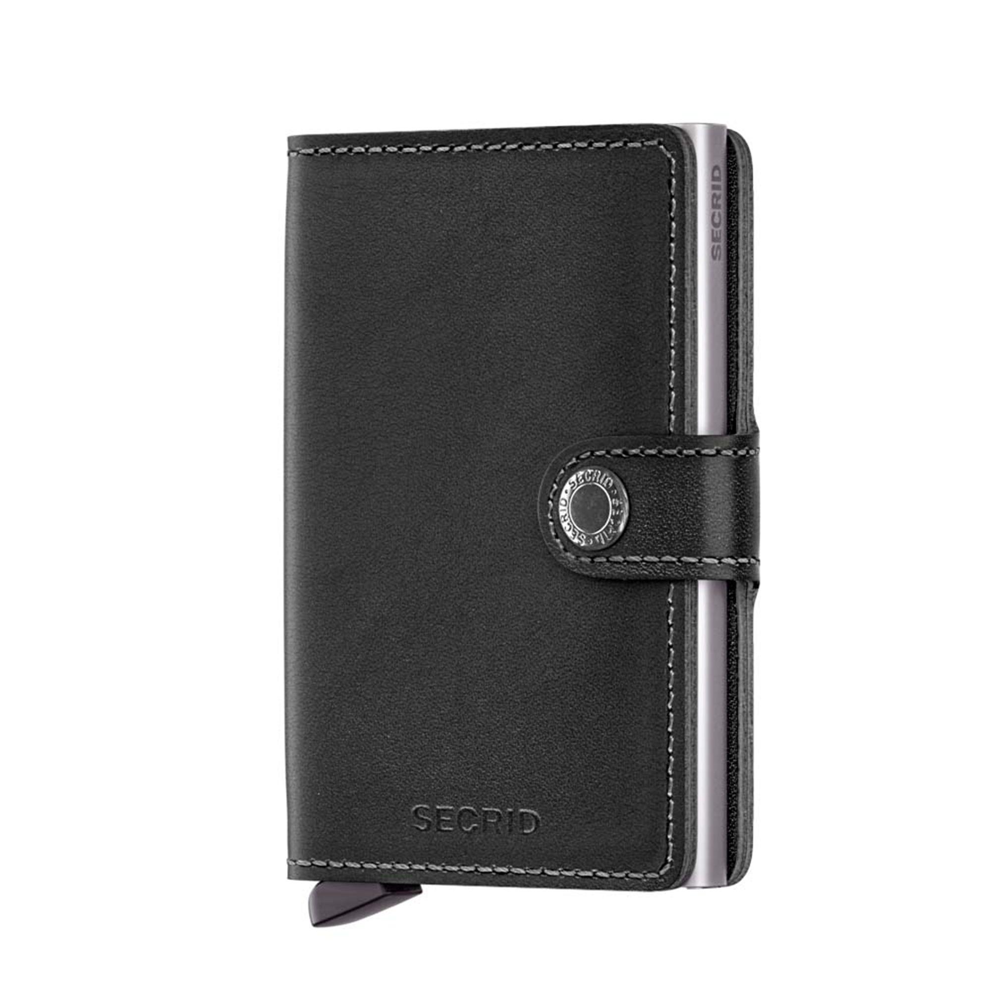 Secrid liten plånbok i skinn och metall, Svart