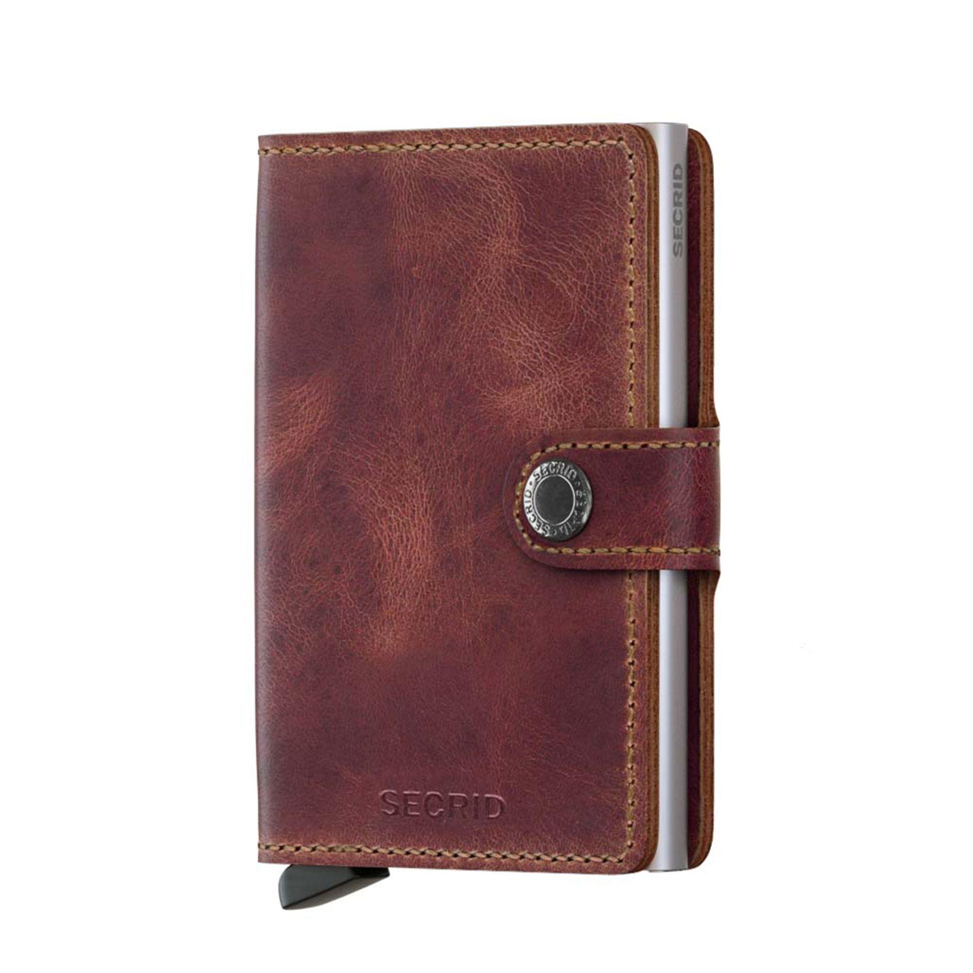 Secrid liten plånbok i skinn och metall, Brun