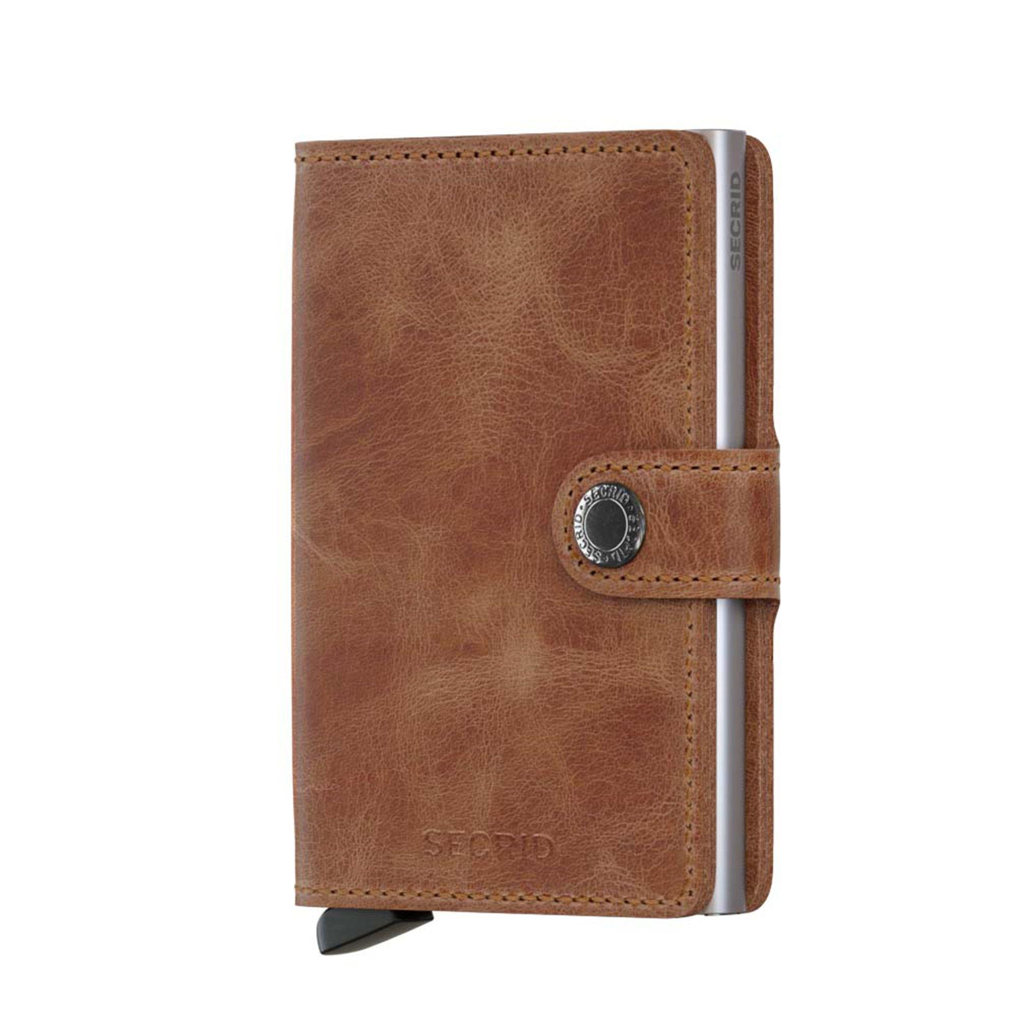 Secrid liten plånbok i skinn och metall, Cognac