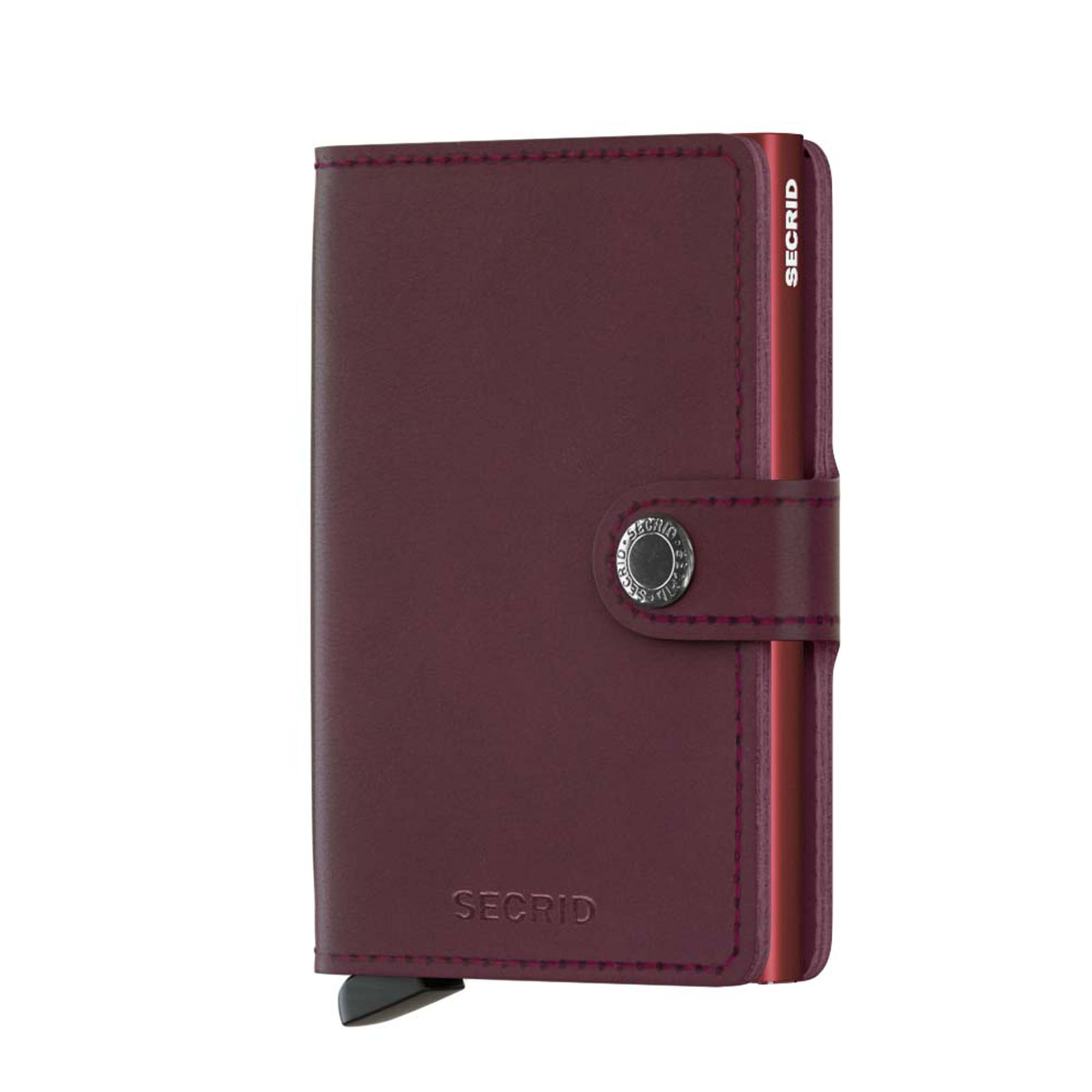 Secrid liten plånbok i skinn och metall, Bordeaux