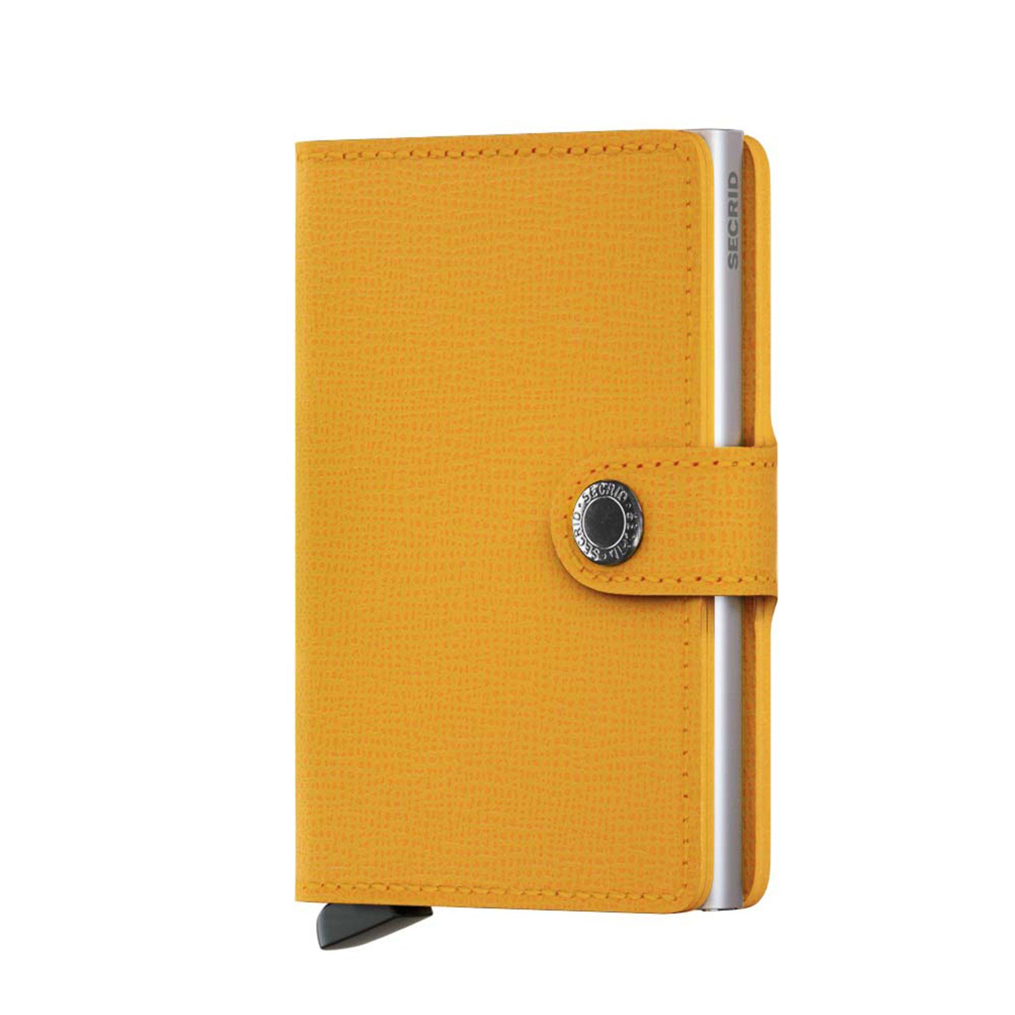 Secrid liten plånbok i skinn och metall, Mörkgul