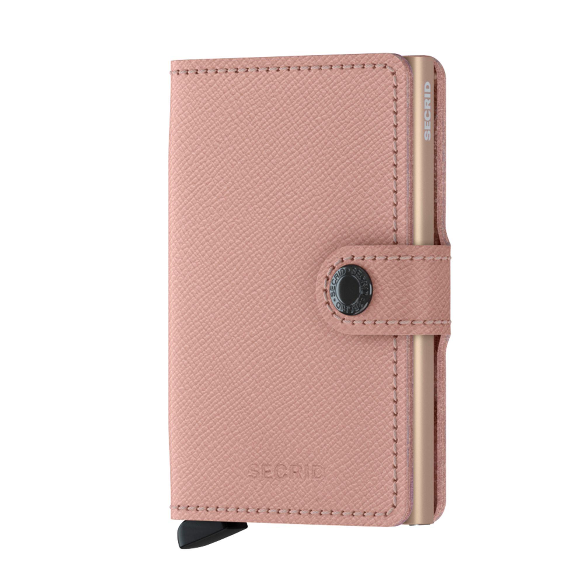 Secrid liten plånbok i skinn och metall, Rosa med mönster