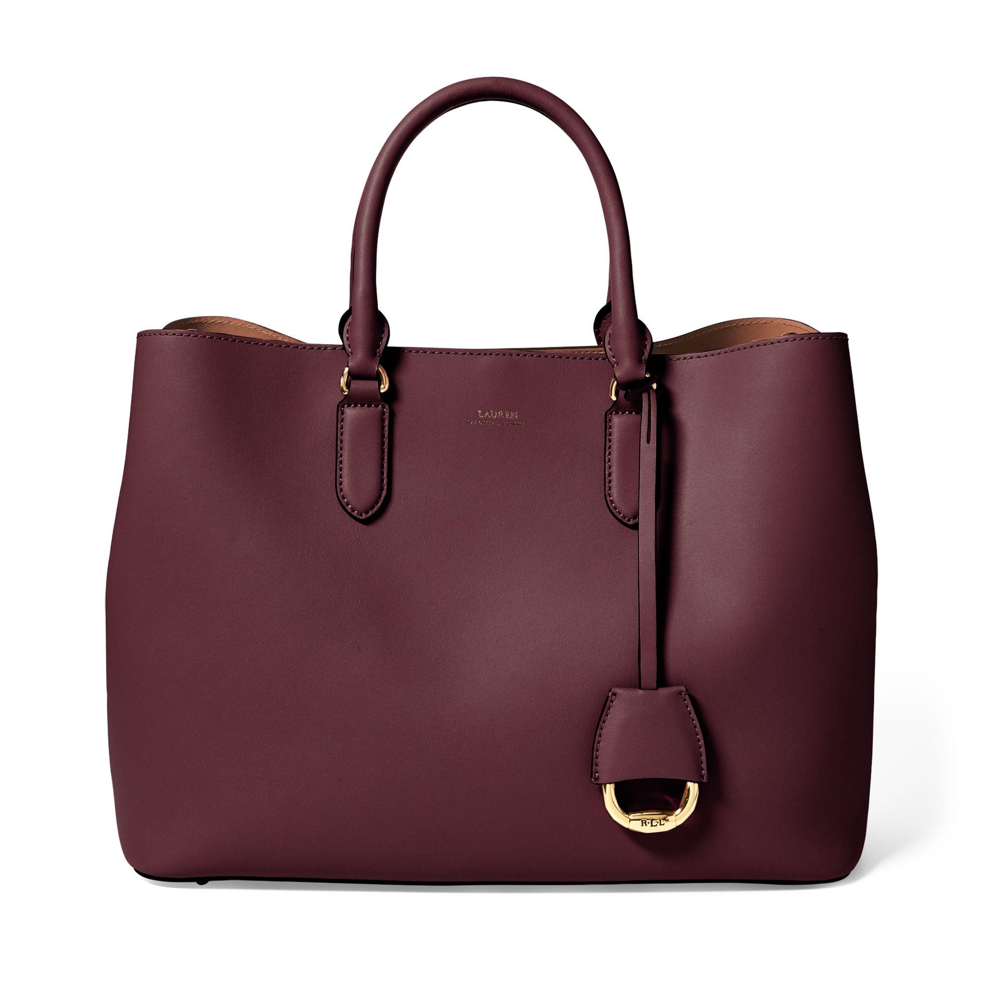 Lauren Ralph Lauren Dryden Marcy Satchel handväska i skinn, Mörkröd