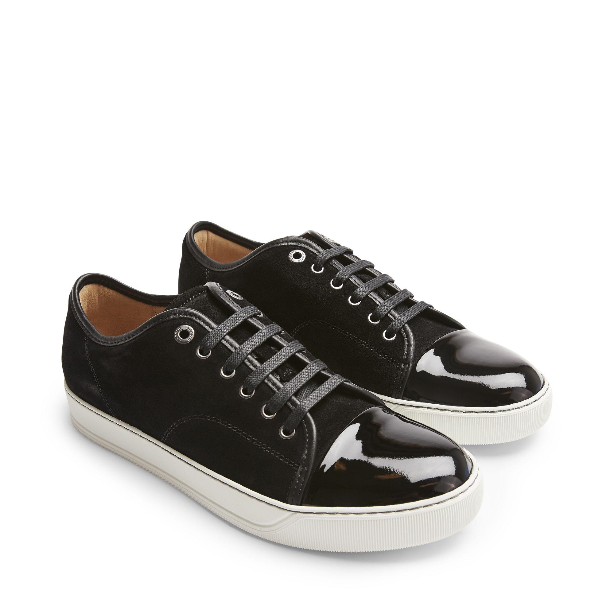 Lanvin Patent Captoe sneakers i mocka, Svart, 12