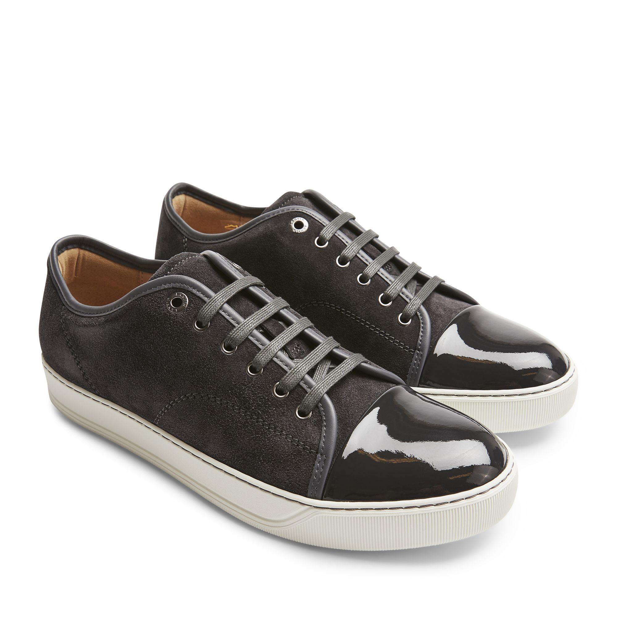 Lanvin Patent Captoe sneakers i mocka, Ljusgrå, 12