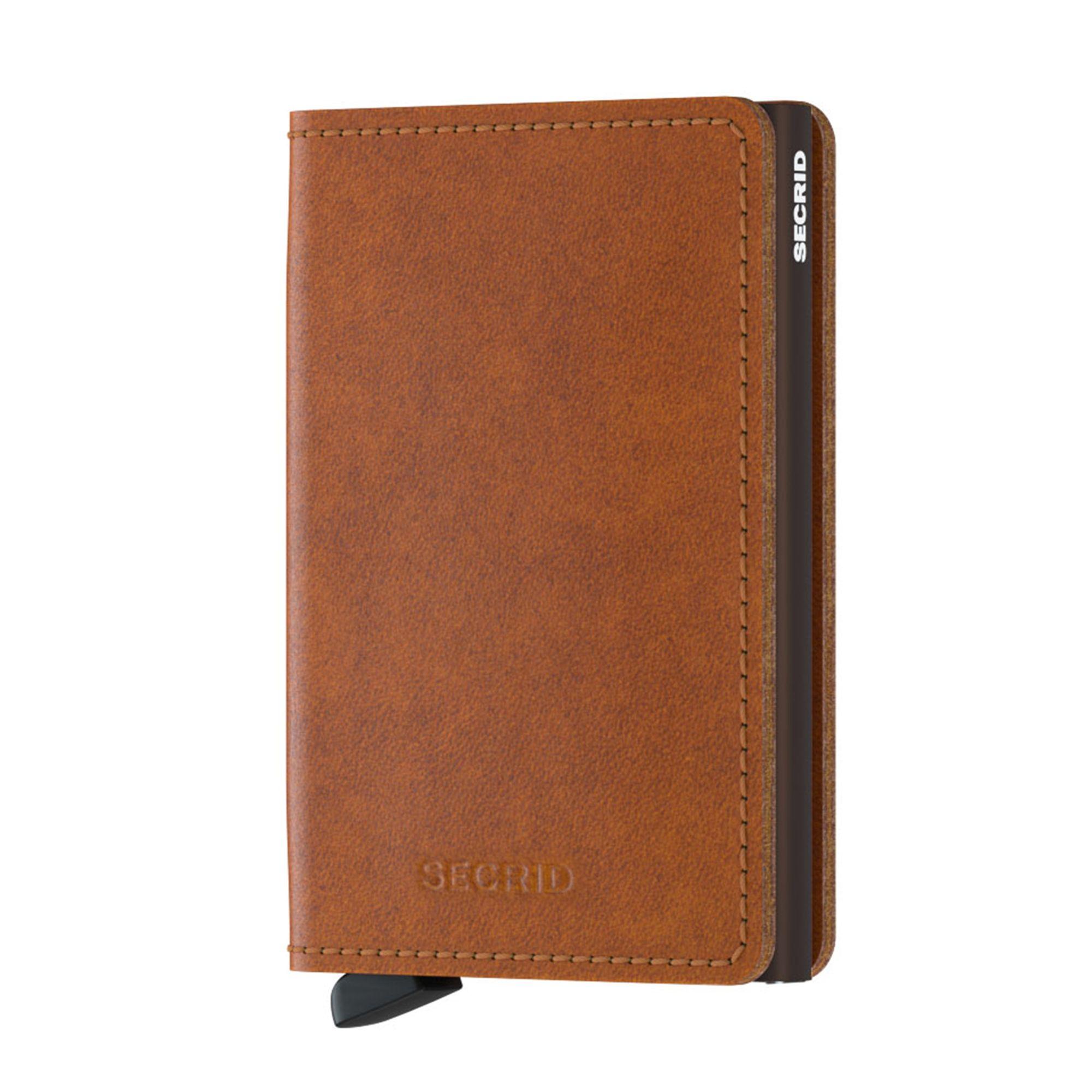 Secrid Slimwallet liten plånbok i skinn och metall, Cognac