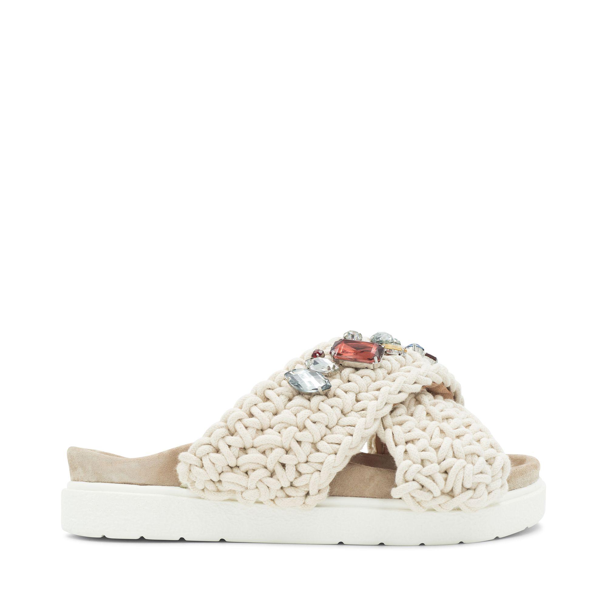 Inuikii Slipper Woven Stones sandaler i textil, Vit, 38