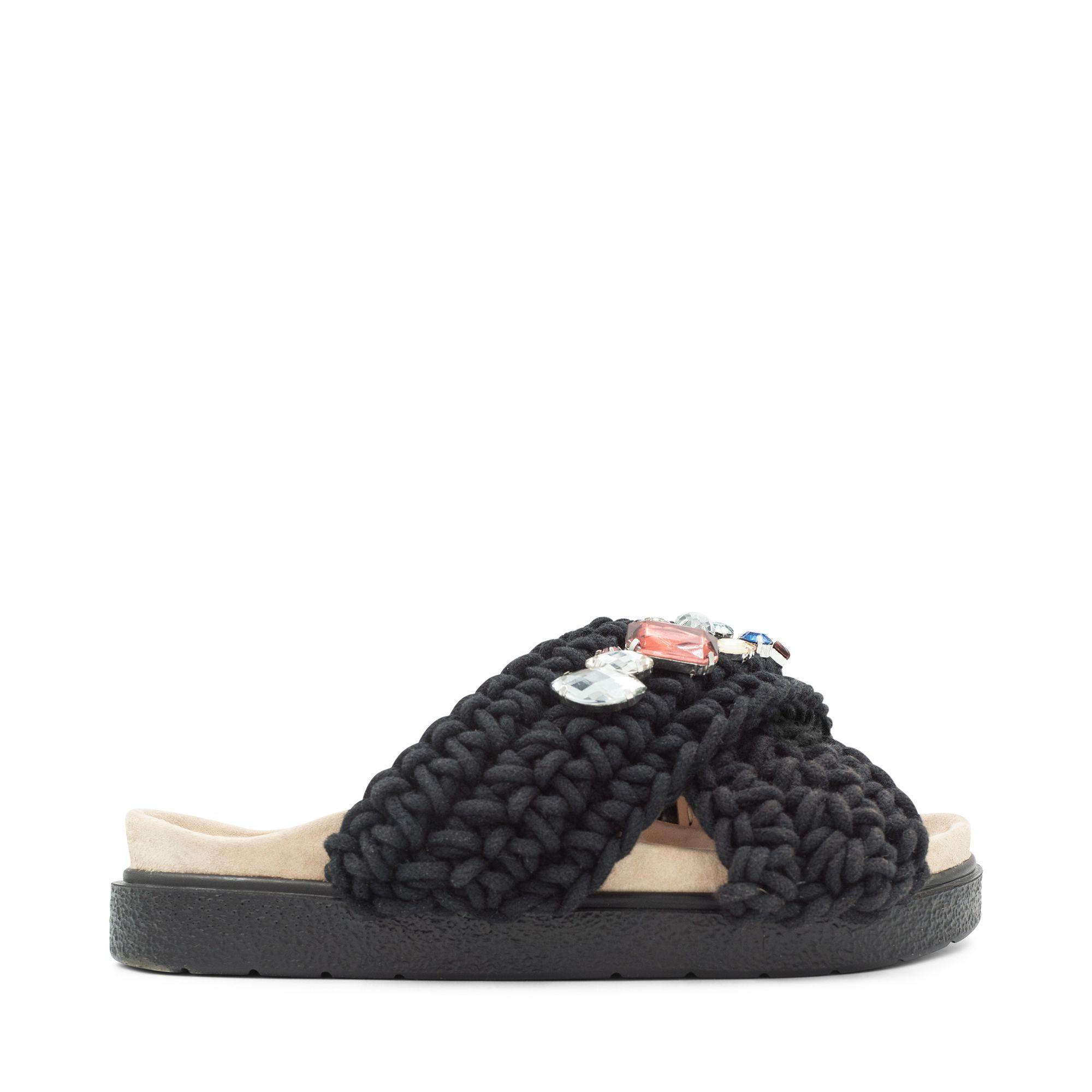 Inuikii Slipper Woven Stones sandaler i textil, Svart, 38