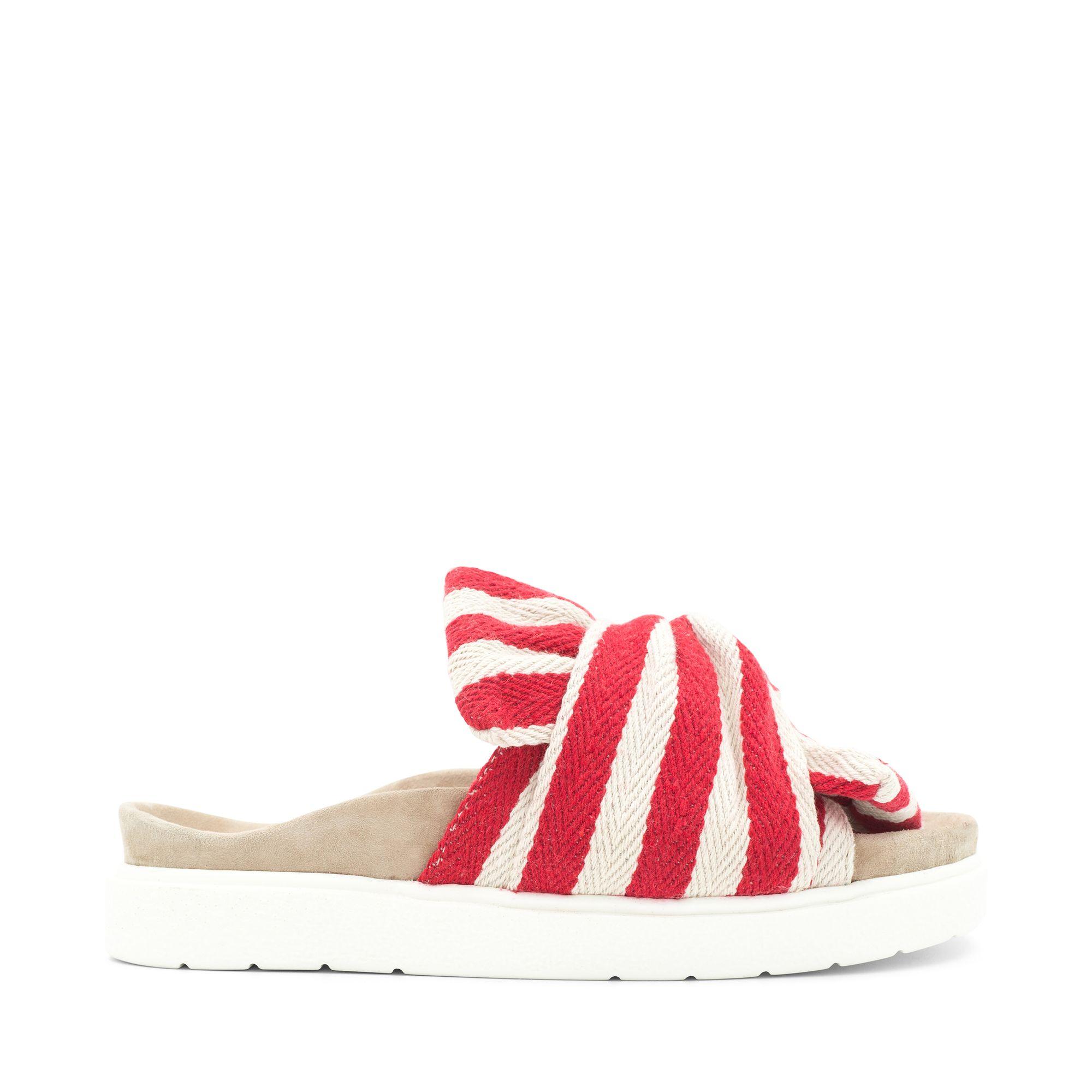 Inuikii Slipper Knot Striped sandaler i textil, Röd, 39