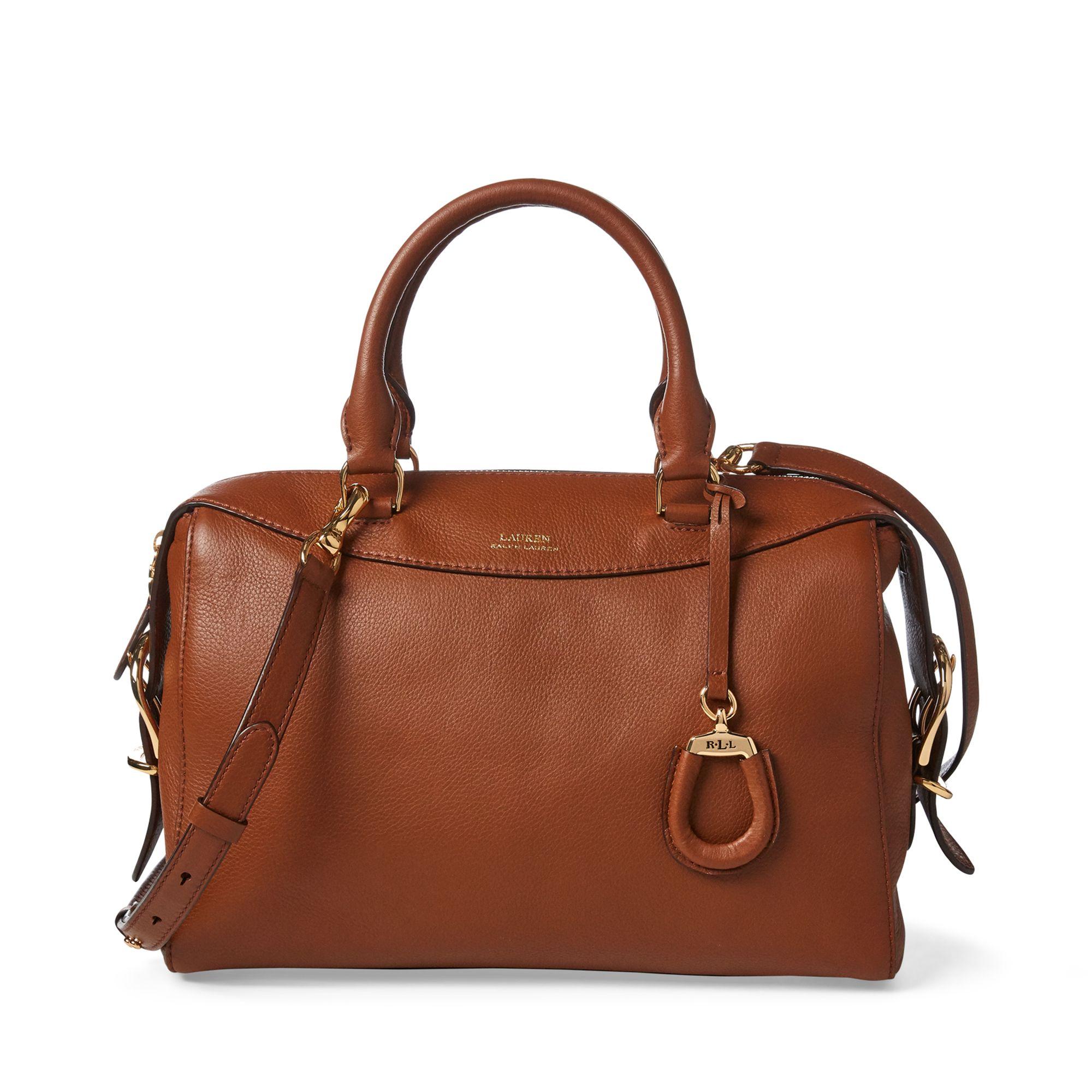 Lauren Ralph Lauren Cornwall handväska i skinn, Cognac