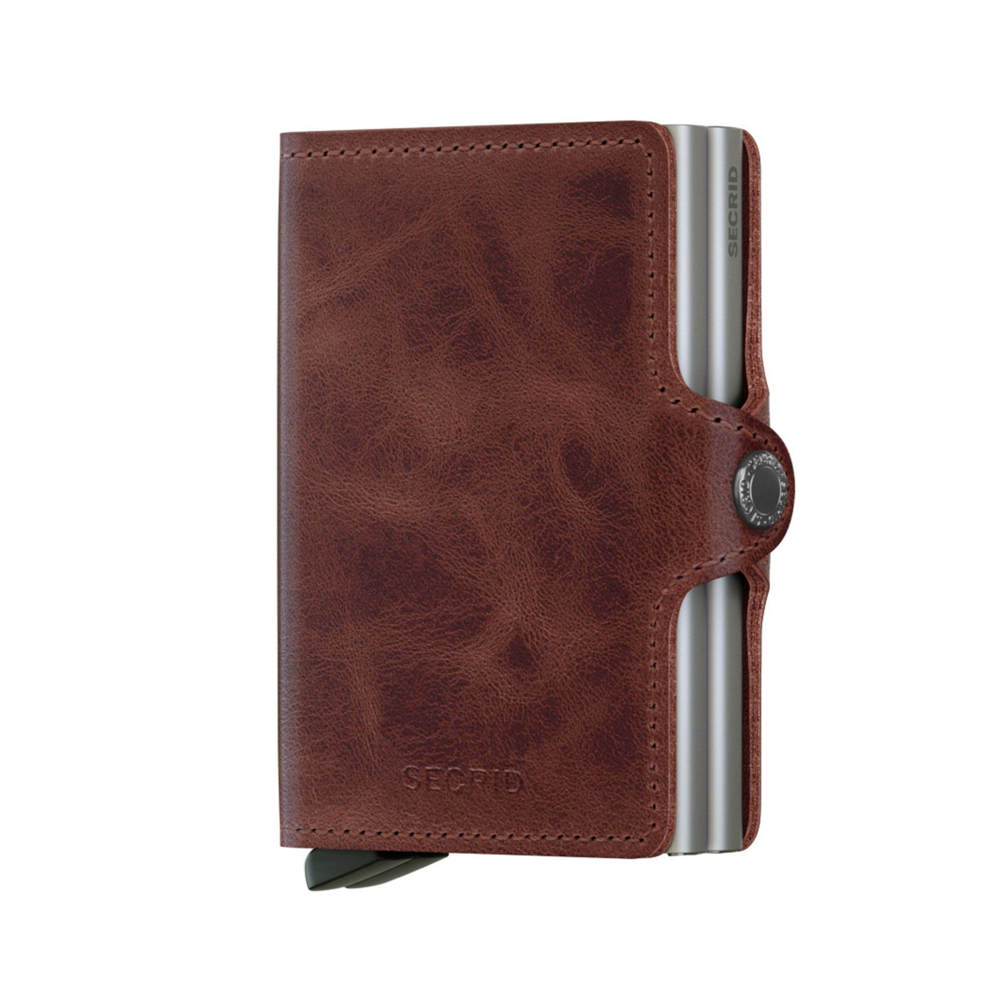 Secrid Twinwallet Vintage plånbok i skinn och metall , Brun